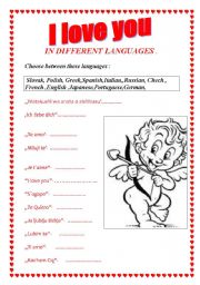 English worksheet: I love you in different languages