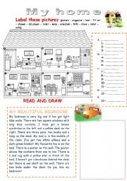 English Worksheet: My home