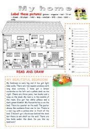 English Worksheet: My home