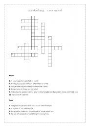 English worksheet: vocabulary crossword