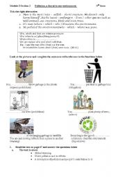English Worksheet: POLLUTION A THREAT TO OUR ENVIRONMENT