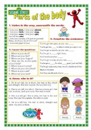 English Worksheets: Parts of the body (Sesame Street)