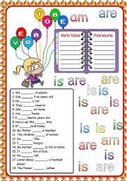 English Worksheets: Verb TOBE Full Editable + Key
