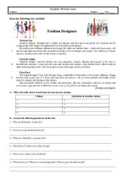 English Worksheet: 8th grade test (Fashion Designers)