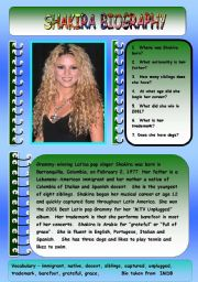 English Worksheet: SHAKIRA BIOGRAPHY