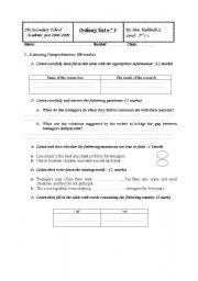 English Worksheet: mid term test 1 3rd form