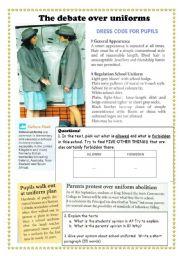 English Worksheet: The debate over school uniforms