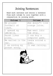 English Worksheets: Joing Sentences