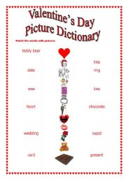 English worksheet: St Valentine s Day-match words with pictures