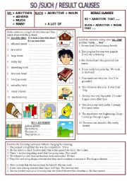English Worksheet: SO, SUCH & RESULT CLAUSES