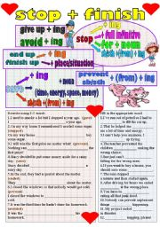 English Worksheets: stop-finish