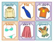 24 CLOTHES FLASH CARDS