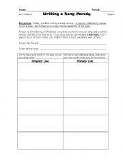 song outline worksheet