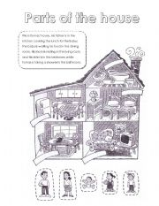 English Worksheet: Parts of the house and family