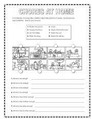 English Worksheets: Chores at home