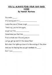English worksheet: Hanna Montana song