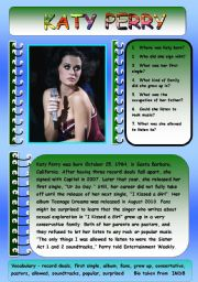 English Worksheets: KATY PERRY BIOGRAPHY