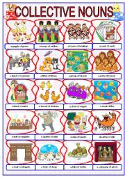 English Worksheets: =***COLLECTIVE NOUNS (PICTIONARY AND 4 EXERCISES)***=