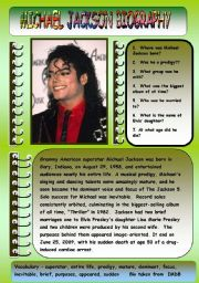 English Worksheet: MICHAEL JACKSON BIOGRAPHY