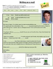 English Worksheet: An informal e mail