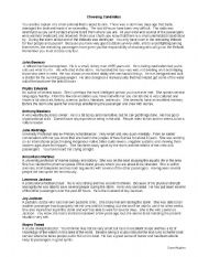 English Worksheets: Choosing a Candidate: Survival Choices