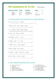 English Worksheets: Wh-questions and To Be with Answer Key
