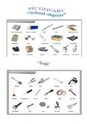 Word Pictionary School Objects And Tools