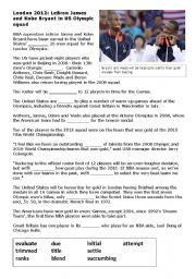 English Worksheet: US Olympic Basketball Team - news report vocab activity