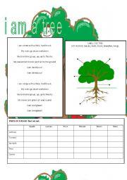 English Worksheets: I am a tree