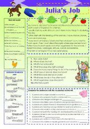 English Worksheet: Julia�s job (26.01.12)