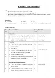 English Worksheet: Australia Day (January 26) Lesson plan
