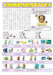 English Worksheet: COMPARATIVES (long&short adj.) - greyscale & key