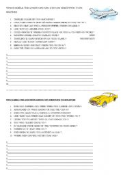 English Worksheets: QUESTIONNAIRE ABOUT CARS/PLANES