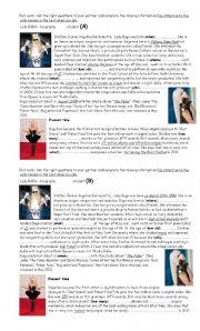 English Worksheets: biography - Lady Gaga - pair work