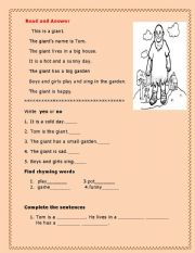 English Worksheets: the giant