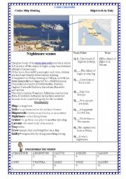 English Worksheet: **The shipwreck in Italy**/Costa Concordia Ship Comprehension/