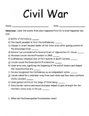 English worksheets: Civil War