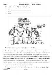 English Worksheet:  Level 2, lesson 18 : School Uniforms