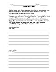 English Worksheets: Point of View