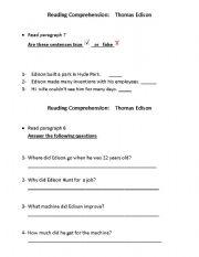 English Worksheets: Thomas Edison