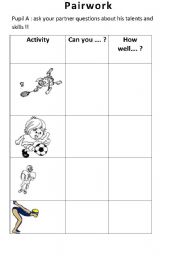 English Worksheet: Talk about your talents and skills
