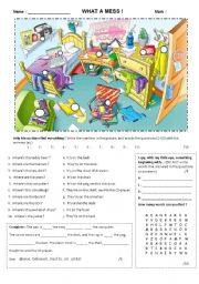 English Worksheet: What a mess!