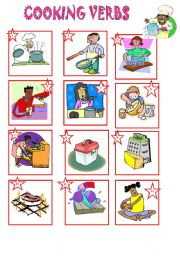 English Worksheet: VOCABULARY: COOKING VERBS