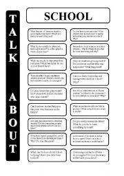 English Worksheet: School - 18 conversation cards - upper-intermediate level (editable)