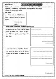 English Worksheets: Writing short notes