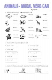 English Worksheet: Animals Modal Verb Can