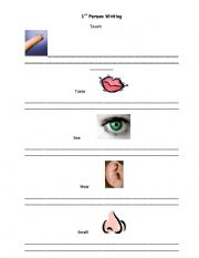 English Worksheets: 1st person writing