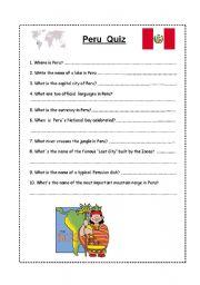 English worksheet:    Peru Quiz