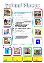 english worksheets school places. Black Bedroom Furniture Sets. Home Design Ideas