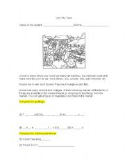 English worksheet: Unique features of my town